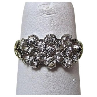 Antique Georgian Silver, Paste Triple Daisy Cluster Right Hand Anniversary Ring