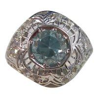 Vintage Estate Art Deco 3.05 Carats Natural Zircon Diamond Ring 14K