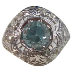 Vintage Estate Art Deco 3.05 Carats Natural Zircon Diamond Ring 14K