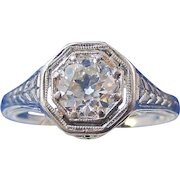 Art Deco European Cut Diamond Estate Engagement Wedding Birthstone Ring Platinum