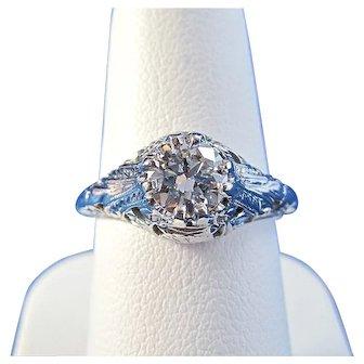 Art Deco Diamond Estate Engagement Wedding Day Birthstone Ring 18K