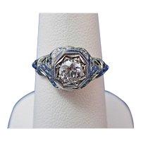 Estate Edwardian Diamond Engagement Wedding Ring 18K White Gold