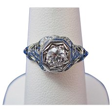 Edwardian Diamond Engagement Wedding Birthstone Ring 18K