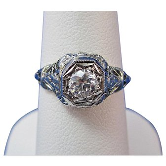 Edwardian Engagement Wedding Birthstone Ring 18K