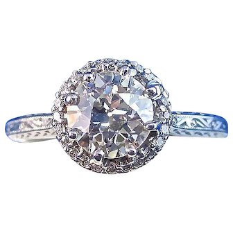 Art Deco Tacori Diamond Estate Halo Engagement Wedding Birthstone Ring 18K