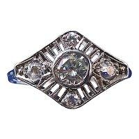 Art Deco Old European Cut VS1 Diamond Estate Engagement Ring Platinum