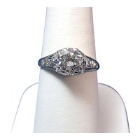 Antique Edwardian 1.02 Carats Diamond Engagement Wedding Anniversary Ring Platinum
