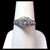 Antique Edwardian 1910 Diamond Engagement Wedding Anniversary Ring Platinum