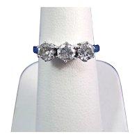 Three Stone Diamond Estate Engagement Wedding Day  Birthstone Ring 14K