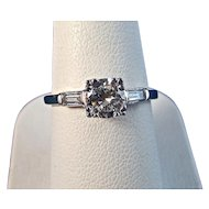 Diamond Engagement Estate Birthstone Ring 14K & Platinum