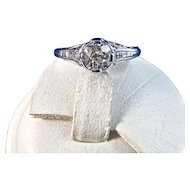 Antique Edwardian 1905 Old European Cut Diamond Estate Engagement Birthstone Ring Platinum
