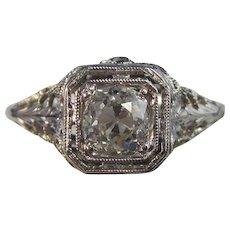 Art Deco 1920's Diamond Estate Engagement Wedding Day Birthstone Ring 18K