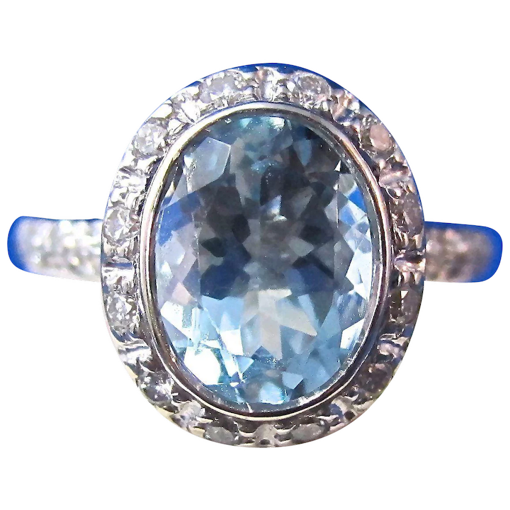 Natural Aquamarine Diamond Bailey Banks Biddle Halo 1960 S Mayfair Estate Antique Jewelry Ruby Lane