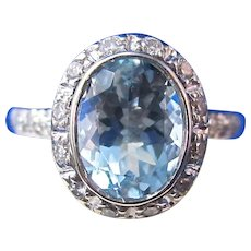 Natural Aquamarine & Diamond Bailey, Banks & Biddle Halo 1960's Engagement Birthstone Ring 14K