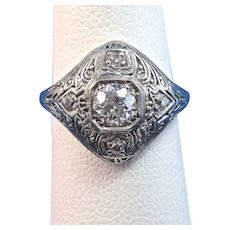 Art Deco Diamond Estate Engagement Birthstone Anniversary Ring 18K