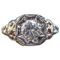 Art Deco 1930's Estate Diamond Engagement Wedding Birthstone Ring 14K