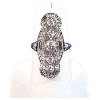 Art Deco 1920's Diamond Engagement Wedding Anniversary Ring Platinum 14K