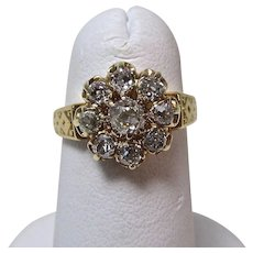Antique Victorian Old Mine Cut Diamond Engagement Wedding Birthstone Cluster Ring 14K