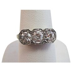 Art Deco Old European Cut Diamond Engagement Anniversary Birthstone Ring 14K