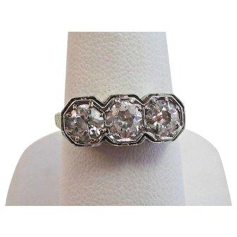 Art Deco Old European Cut Diamond Engagement Anniversary Birthstone Ring 14K