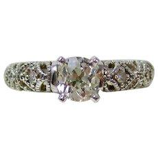 Edwardian Old Mine Cut Diamond Engagement Wedding Birthstone Ring 14K