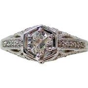 Art Deco Old European Cut Diamond Engagement Wedding Anniversary Estate Ring 14K