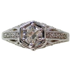 Art Deco Old European Cut Diamond Engagement Wedding Anniversary Estate Ring 14K