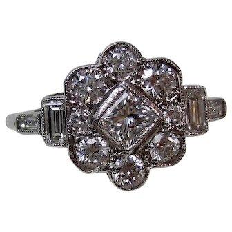 Estate Art Deco Diamond Engagement Wedding Birthstone Halo Ring 18K