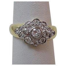 Vintage Estate English Art Deco Diamond Engagement Birthstone Anniversary Ring 18K