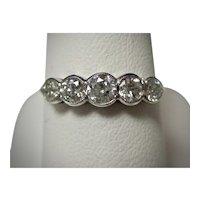 Vintage Estate 5 Stone Diamond Ring 18K
