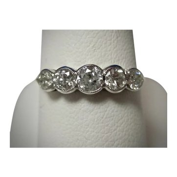 Vintage Estate 5 Stone Diamond Ring 18K