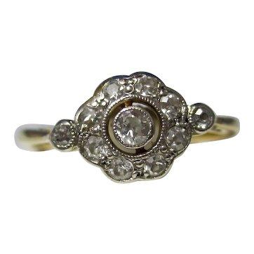 Art Deco Estate Diamond Engagement Ring 18K