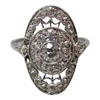 Antique Edwardian Diamond Engagement Wedding Ring Platinum
