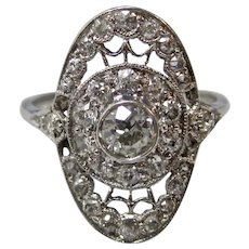 Antique Edwardian Diamond Engagement Wedding Ring Platinum