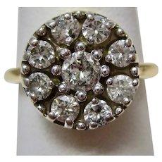 Art Deco Estate Diamond Cluster Engagement Ring 14K