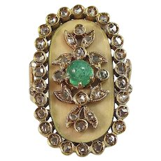 Antique Victorian 1890's Emerald Diamond Estate Birthstone Engagement Wedding Day Anniversary Ring 18K