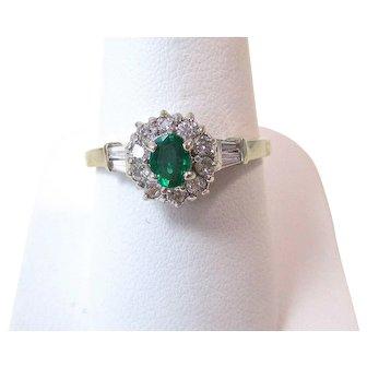 Natural Emerald & Diamond Estate Engagement Wedding Birthstone  14K
