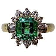 Natural Emerald & Diamond Estate Engagement Birthstone Wedding Ring 14K