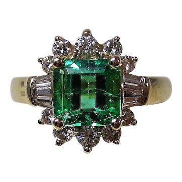 Natural Emerald & Diamond Estate Engagement Ring 14K Yellow Gold