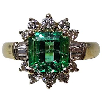 Natural Emerald & Diamond Estate Engagement Birthstone Wedding Ring 14K