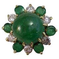 6.82 Carat Natural Emerald & Diamond Engagement Birthstone Dinner Estate Ring 18K