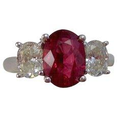 Estate 3 Stone Engagement Birthstone Anniversary Ruby Diamond Ring 18K White Gold