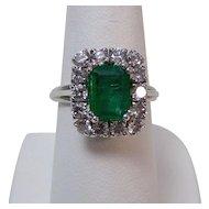 Natural Emerald & Diamond Estate Engagement Birthstone Wedding Ring Platinum