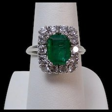 Natural Emerald & Diamond Estate Engagement Birthstone Wedding Ring Platinum
