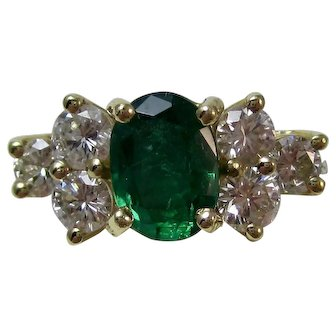 Estate Natural Emerald & Diamond Engagement Birthstone Anniversary Ring 18K