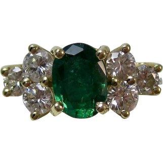 Estate Natural Emerald & Diamond Engagement Birthstone Anniversary Ring 18K