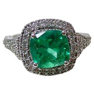 Columbian Emerald & Diamond Estate Engagement Wedding Birthstone Anniversary Ring 14K