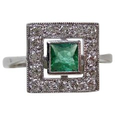 Art Deco 1920's Estate Emerald & Diamond Estate Engagement Birthstone Ring Platinum