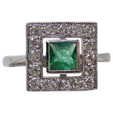 Art Deco 1920's Estate Emerald & Diamond Estate Engagement Birthstone Ring Platinum