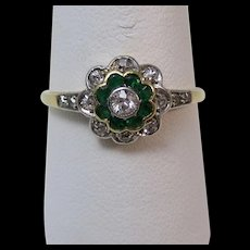 Edwardian Natural Emerald & Old European Cut Diamond Floral Engagement Birthstone Anniversary Ring 14K